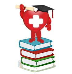 red heart and books - graduation