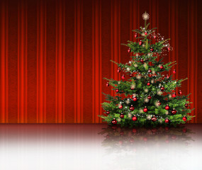 Christbaum mit Roter Streifentapete