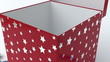 Red gift box with blue ribbon opening. Silver star