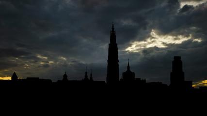 Belgium Antwerpen cityscape sunset clouds