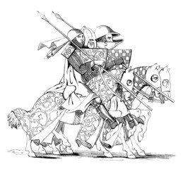 3 Knights going to Joust - 14th century