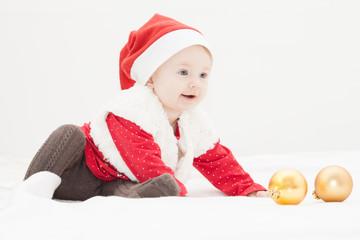 Wundervolles Baby mit Weihnachtsmütze