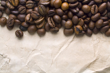 Coffee beans on a paper