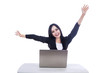 Beautiful businesswoman cheering with laptop