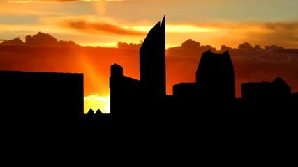 Nederland Haag skyline sunrise