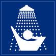 Schild blau - Dusche