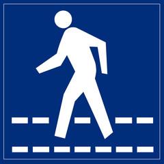 Schild blau - Fußgängerüberweg