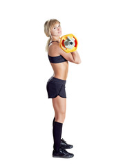 strong young woman with barbell isolated