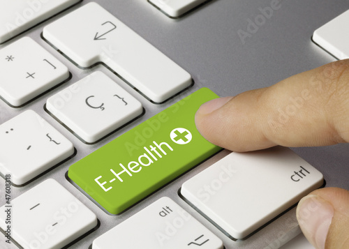 E-Health keyboard key. Finger