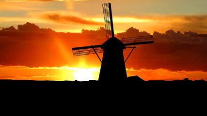 Nederland Kinderdijk windmills sunrise
