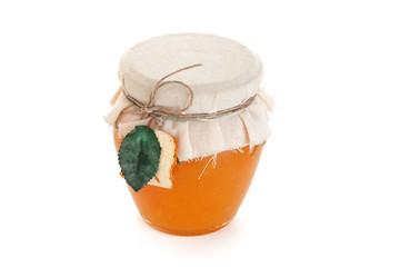 Orange jam isolated on white background