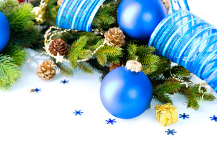 Christmas and New Year Baubles And Decoration border art Design