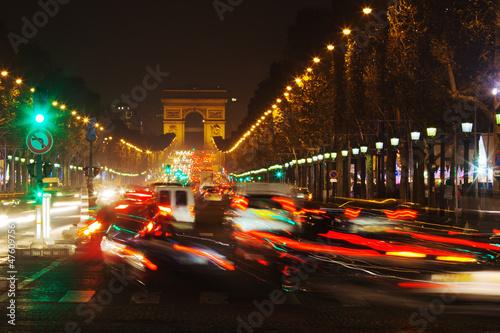 canvas print picture nächtlicher Verkehr auf der Champs-Elysees