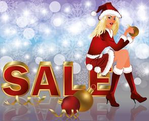 Christmas sale card with Santa girl, Vector Illustration