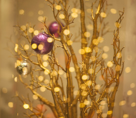 Christmas Tree Decoration - Glittering Golden Bokeh Background