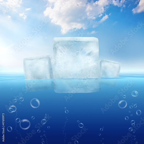 Ice cubes floating in the sea