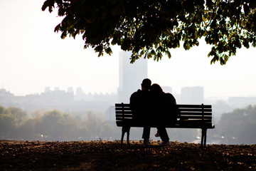 love couple sitting on bench