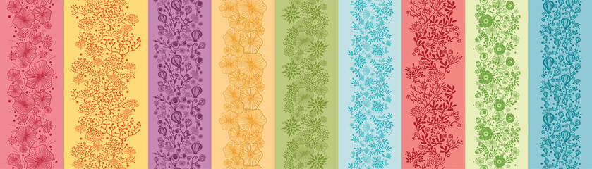 Set Of Nine colorful Flowers Vertical Seamless Patterns