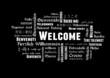 Welcome Tagcloud schwarz weiß