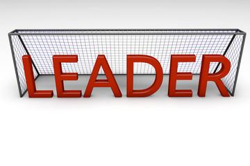 Palabra Leader y porteria de futbol