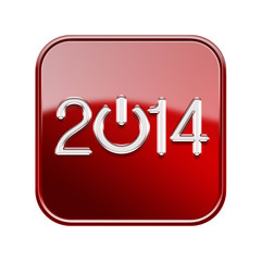 Year 2014 icon glossy red, isolated on white background