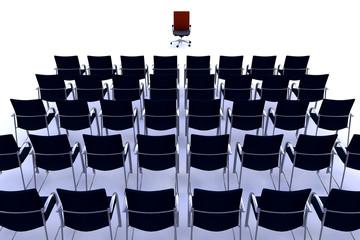 Sillas en fila y silla de conferencias