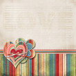 Retro scrapbooking valentine background with hearts