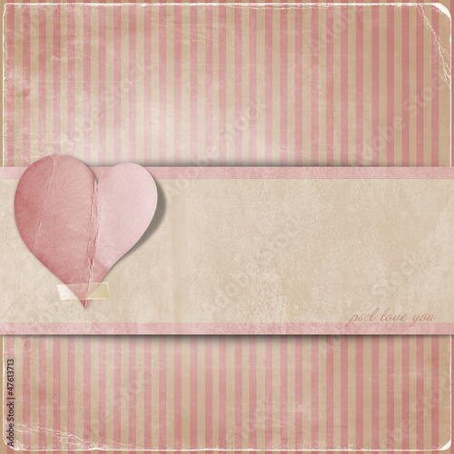 Vintage valentine background  with hearts and area for text