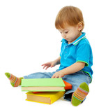 cute little boy with books, isolated on white