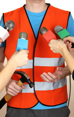 Conference meeting microphones and road worker
