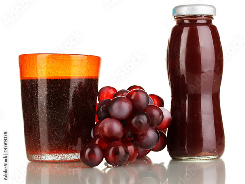 Delicious grapes juice isolated on white