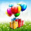 Realistic colorful birthday background