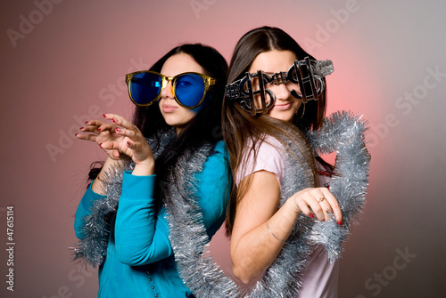 Two girls in the big fancy glasses