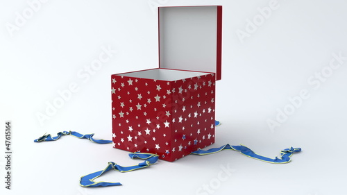 Red gift box with blue ribbon opening.