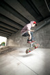 Skateboarder under overpass