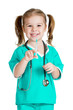 kid girl playing doctor with syringe isolated on white backgroun