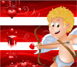 Red Valentine's Day banners with cupid cartoon EPS 10