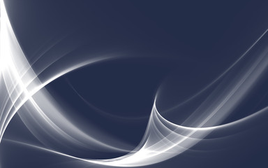 Elegant white fractal waves on dark blue background