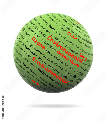 An illustration of Go green concept with text on green sphere