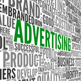 Advertising concept in word tag cloud