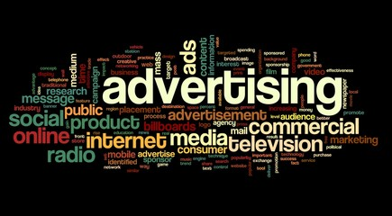 Advertising concept on tag cloud