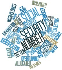 Word cloud for Social Security number