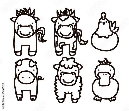 """""""u8fb2u5834"""",""""u8fb2u696d"""",""""u99ac""""]剪贴画动物友好可爱的国内"""