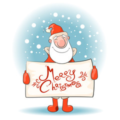 Santa Claus with a banner. Vector illustration