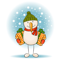 Snowman with gift. Vector illustration