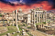 Sunset above Ancient Ruins of Rome - Imperial Forum