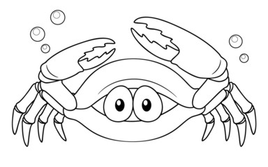 illustration of Cartoon crab - Coloring book
