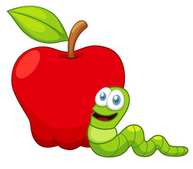 illustration of Cartoon Worm with Apple