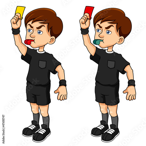 Cartoon Soccer referees holding red and yellow card