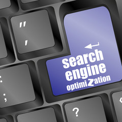 search engine optimization, computer keyboard with seo key